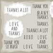 Love and thanks hand drawn big letters grateful monochrome inscription set with two vintage frames on light background — Stock Vector