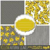 凌乱的黄棕叶与多彩复古风格的帧抽象植物无缝图案集 — 图库矢量图片