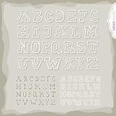 Bordo bianco alfabeto latino cubitali isolato su sfondo chiaro retrò istruzione set — Vettoriale Stock