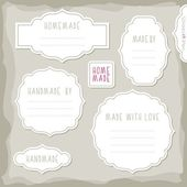 Homemade made with love simple white vintage labels with border and shadow and place for your text vector set — Stock Vector