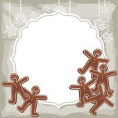 Sweet people shaped gingerbread on vintage frame Christmas winter holidays vector background with place for your text — Stock Vector
