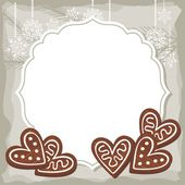 Sweet heart shaped gingerbreads on vintage frame Christmas winter holidays vector background with place for your text — Stock Vector