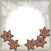 Stella dolce a forma di Pan di zenzero su telaio d'epoca Natale Inverno vacanze vettoriale sfondo con posto per il vostro testo — Vettoriale Stock