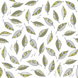Stock Vector: Green gray messy leaves on windy day botanical seamless pattern on white background