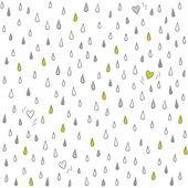 Pequenos corações perdidas no chuva romântico adorável abstrata sem costura padrão sazonal no fundo branco — Vetor de Stock