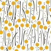Messy billy balls craspedia beautiful yellow flowers on white background with little dots botanical seamless pattern — Stock Vector