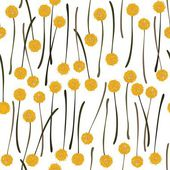 Messy billy balls craspedia beautiful yellow flowers on white background botanical seamless pattern — Stock Vector