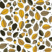 Messy brown yellow oak leaves and acorns on white background beautiful botanical seamless pattern — Stock Vector