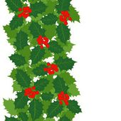 Green holly leaves and red berries on white background Christmas winter holiday seamless vertical border — Stock Vector