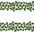 Merry Christmas messy holly leaves and berries winter holidays double seamless horizontal border on white background  — Stockvectorbeeld