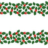 Merry Christmas messy holly leaves and berries winter holidays double seamless horizontal border on white background — Stock Vector
