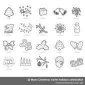 メリー クリスマス白灰色の微妙な境界線冬の休日のお祝いのモノクロ アイコンを設定 — ストックベクタ