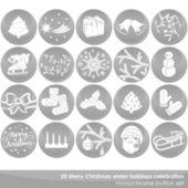 Merry Christmas white gray delicate winter holidays celebration monochrome button set — Stock Vector