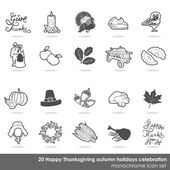 Happy Thanksgiving white gray delicate border autumn holidays celebration monochrome icon set — Stock Vector