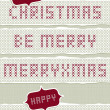 Merry Christmas stitched embroidered red gray torn Christmas wishes set on light background  — Stock Vector