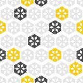 光と闇のグレーと黄色星雪片正規行冬季節シームレス パターン白い背景の上で — ストックベクタ