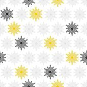 Light and dark gray and yellow little dots snowflakes in regular rows winter seasonal seamless pattern on white background — Stock Vector