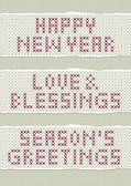 Happy New Year Love and Blessings Season's Greetings wishes stitched embroidered red gray torn text set on light background — Stock Vector