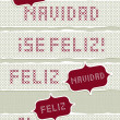 Feliz Navidad Felices Fiestas Feliz Ano Nuevo spanish Christmas New Year wishes with vintage frames stitched embroidered red gray torn text set on light background  — Imagen vectorial