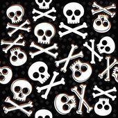 Skulls and bones on messy confetti Halloween seamless pattern on dark background — Stock Vector