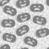 Happy and sad carved pumpkins Halloween monochrome decoration elements on light background seamless pattern — Vettoriale Stock