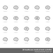 20 healthcare medical brain activities icon set border line on white background with shadow — Stock Vector