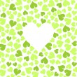 Green leaves ecological background with blank heart space for your text on white  — Stock Vector