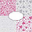Pink gray romantic messy heart pattern scrapbook paper set with retro shaped crackle blank frame with place for your text — 图库矢量图片