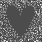 Blanca deja sentimientos de amor gráfico monocromo tarjeta de la invitación de boda romántica delicado fondo oscuro — Vector de stock