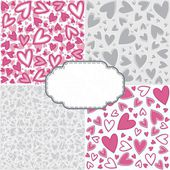 Pink gray romantic messy heart pattern scrapbook paper set with retro shaped crackle blank frame with place for your text — Stock Vector