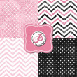 Little polka dots and chevron black white pink gray geometric crackle backgrounds set with vintage frames — Stock Vector