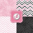 Stock Vector: Little polkdots and chevron black white pink gray geometric crackle backgrounds set with vintage frames