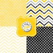 Little polka dots stars and chevron black white yellow gray geometric crackle backgrounds set with vintage frames — Stock Vector #34347143