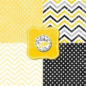Little polka dots stars and chevron black white yellow gray geometric crackle backgrounds set with vintage frames — Stock Vector