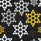 Black gray yellow white dotted stars winter holidays seamless pattern on dark background — Stockvector