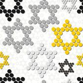 Gray yellow black white dotted stars winter holidays seamless pattern on white background — Stock Vector