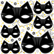 Stock Vector: Cat mask animal party disguise with sparkling gold stars holiday seamless pattern on white background