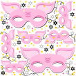 Stock Vector: Pink pig mask animal party disguise with sparkling gold stars holiday seamless pattern on white background