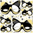 Stock Vector: Gray yellow white black pinto dog mask animal party disguise with sparkling gold stars holiday seamless pattern on white background