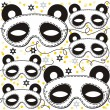 Stock Vector: Pandbear mask animal party disguise with sparkling gold stars holiday seamless pattern on white background