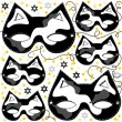 Stock Vector: Gray white black pinto cat mask animal party disguise with sparkling gold stars holiday seamless pattern on white background