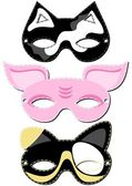 Dog cat pig mask animal party disguise set on white background — Stock Vector
