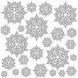 Delicate lace messy snowflakes winter holidays monochrome seamless pattern gray elements on white background  — Stock Vector