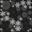 Delicate messy snowflakes winter holidays seamless pattern different gray elements on dark background — Stock Vector