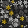 Delicate messy snowflakes winter holidays seamless pattern different gray yellow elements on dark background  — Stock Vector