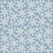 Delicate messy snowflakes winter holidays seamless pattern white elements on blue background — Stok Vektör