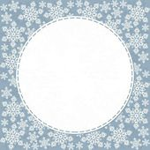 Delicate messy snowflakes winter holidays seamless pattern white elements on blue background with round white sewed frame with place for your text winter holiday card invitation background — Stock Vector