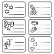 Monochrome black and white winter holidays Christmas time gift label sticker set with winter Christmas related illustrations on white background — Stock Vector #35708073