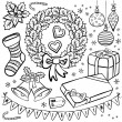 Stock Vector: Black and white typical traditional Christmas and winter holidays related elements illustration set isolated on white background