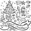 Stok Vektör: Black and white typical traditional Christmas and winter holidays related elements illustration set isolated on white background